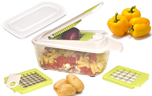 Brieftons QuickPush Food Chopper: Strongest & 200% More Container Capacity, 30% Heavier Duty, Onion Chopper, Kitchen Vegetable Dicer, Fruit and Cheese Cutter, with 3 Dicing Blades & Keep-Fresh Lid (Individual Black Salad Bowl)