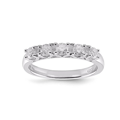 Diamond2Deal 5 Stone Diamond Wedding Ring in 14K White Gold 0.25ct Size 6 by Diamond2Deal