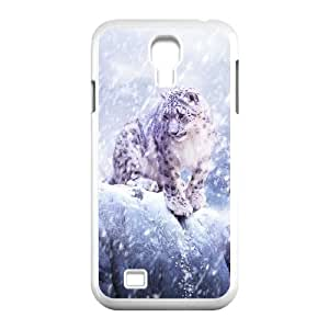 Okaycosama Funny Samsung Galaxy S4 Cases Leopards in the Snow Protective Cute for Girls, Phone Case for Samsung Galaxy S4 I9500, [White]