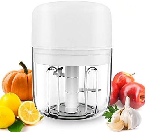 AYUQI Mini Tritatutto Elettrico,22W /250ML ritatutto per Verdure Robot da Cucina Smerigliatrice a 3 Lame Affilate,1Pennello,Frullatore per Alimenti per Bambini, Carne, Frutta e Noci