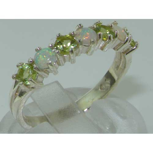 925 Sterling Silver Natural Opal & Peridot Womans Eternity Ring - Size 5 by LetsBuySilver (Image #5)