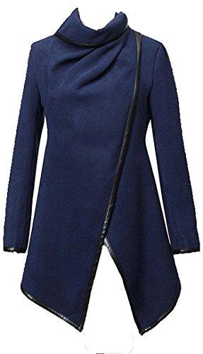 Newfacelook Womens Ladies Designer PU Zipper Trench Parka Casual Jacket Coat Outerwear