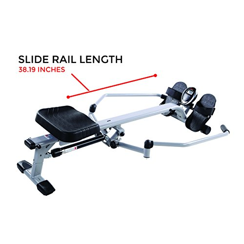 Sunny Health & Fitness SF-RW5639 Full Motion Rowing Machine Rower w/ 350 lb Weight Capacity and LCD Monitor by Sunny Health & Fitness (Image #9)'