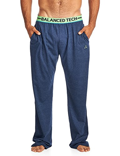 Balanced Tech Men's Solid Cotton Knit Pajama Lounge Pants - Navy Heather/Green - Large