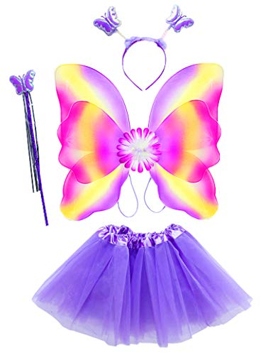 Lujuny Fairy Wing Costume Set - Butterfly Wings Tutu Dress Magic Wand and Headband (LAVENDER)