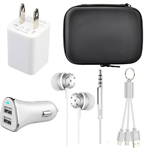 Caithly Mobile Phone Accessory 4 in 1 Charger Kit,Pouch Bag,Dual USB Car Charger,Fast USB Wall Charger,Headphone Mic Control,Data Charging Cable iPhone Android.(White) by Caithly