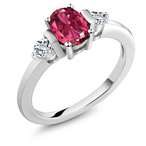 Gem Stone King 0.98 Ct Oval Pink Tourmaline White Topaz 925 Sterling Silver Ring (Size 8)