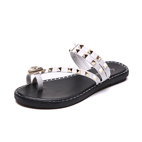 Entertainment Women'S White Spring Summer WHLShoes Pure Color Casual Decoration Women'S women Toe Sandals slippers Fashion nOxwq6gp