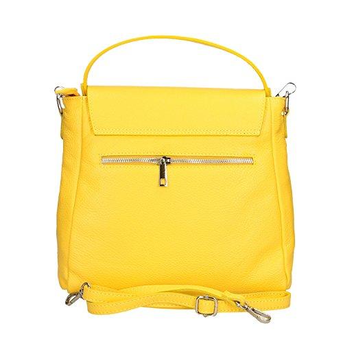 Chicca Mujer Amarillo Fabricado Italia 27x27x8 Bolso Genuina Cm Piel En Borse rEvUqE