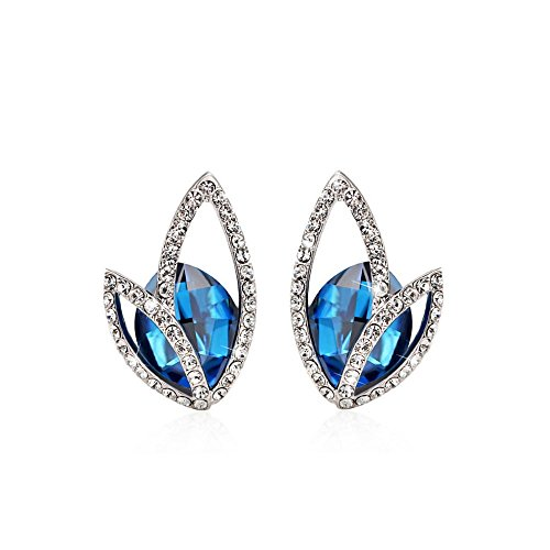Gorgeous Jewelry Butterfly Wing Shape Silver Diamond Accented Deep Blue Crystal Women Stud Earring