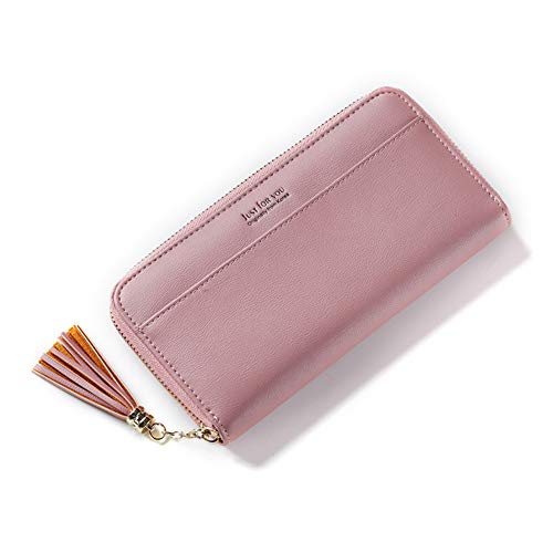 Clutch DSstyles Elegant style Pink Large Long Handbag Bag Capacity Tassel Women Zipper gxgqSrwIT
