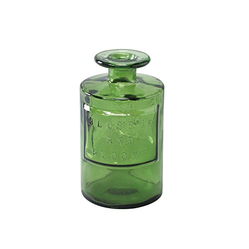 (Time Concept Valencia 100% Recycled Glass Jar - Siete, Green - Handcrafted Flower Vase, Home Centerpiece Décor)