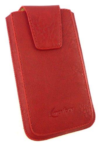 Emartbuy® Sparkling Stylus Pack Para HTC Desire 600 Estándar De Lujo Slide Rojo Pu De Cuero Clásico De La Bolsa / Caja / Manga / Titular (Tamaño 3Xl) Con Magnético De La Aleta & Pull Mecanismo Tab + S