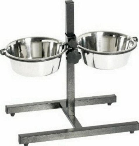 Black 5-Quart Black 5-Quart Pro Select Stainless Steel Adjustable Dog Diner Bowl with Two Pet Food Bowls