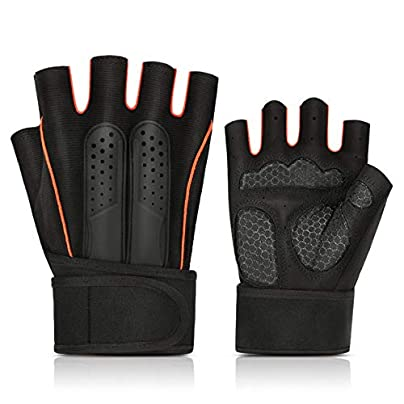 YICUERJIU leather gloves red gloves exercise bike half finger ride fitness wristband outdoor sports non-slip weightlifting breathable Estimated Price £21.00 -