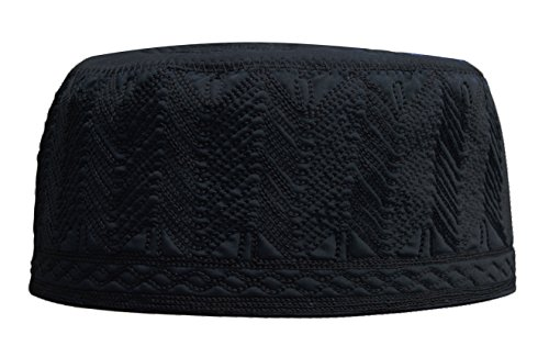 Beautiful Black Embroidered Cotton Kufi Muslim Kufi Takke Peci Kofia Hat – Large – 4X Available (XXL)