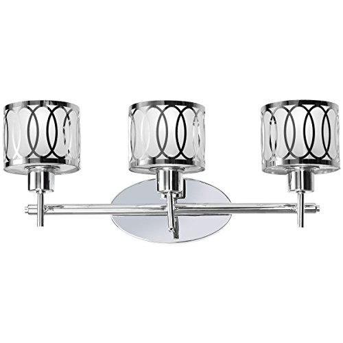 Vanity Glass Shade - Tangkula 3-Light Vanity Light Wall Mounted Brushed Chrome Finish Glass Shade Wall Sconces UL E26