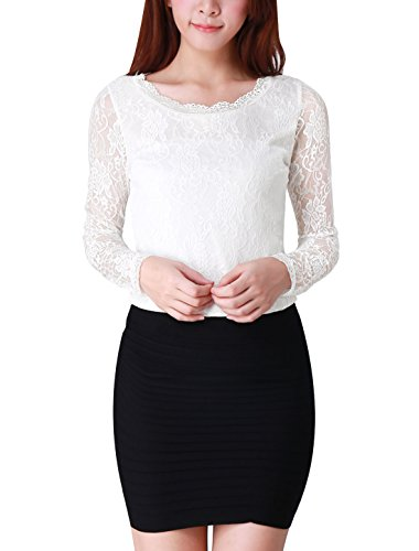 Allegra K Women Long Sleeve Scalloped Neckline Lace Fall Tops Slim Blouses, Small / US 6, White