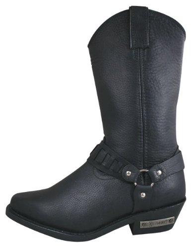 Xelement 1488 King Mens Black Leather Harness Boots - 8 1/2