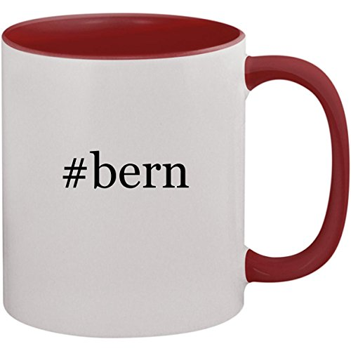 (#bern - 11oz Ceramic Colored Inside and Handle Coffee Mug Cup, Maroon)
