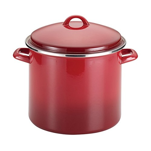 20 quart stock pot red - 9