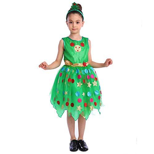 SPUNICOS Girls Xmas Tree Costume,Novelty Xmas Dress with a Xmas Tree Headband (XS(3T-4T)) Green