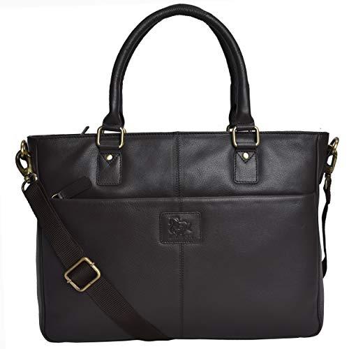 Leather Laptop Messenger Bag for Women - Premium Office Briefcase 15