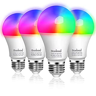 Boxlood Smart Light Bulb Compatible With Alexa Echo Google Home Assistant, 9W 900lm, No Hub Required, 2.4GHz WiFi Bulb, Dimmable & Timing, RGBCW Color Changing, 2700K-6500K Dimming, A19 E26 Base 4Pack