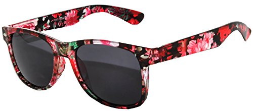 Retro 80's Vintage Sunglasses Floral Red Frame Smoke Lens Owl ()
