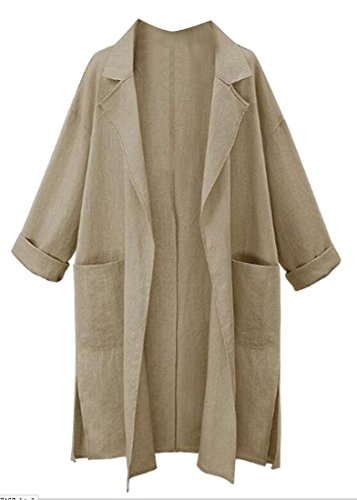 SYTX Womens Casual Cotton Linen Pockets Side Slit Cardigan Trench Coat Khaki (Linen Blend Sweater)