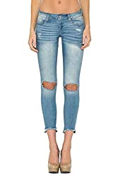 Shopglamla Light Blue Destroyed Knee Hole Skinny Cropped Jeans 3