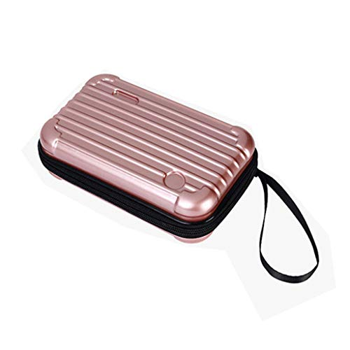 Makeup Bag Pouch Portable Cosmetic Bag Small Hard Case,Suitcase cosmetic handbag waterproof/Crashproof The Mini Suitcase Cosmetic bag (6.89?.33?.76inch, rose gold) ()