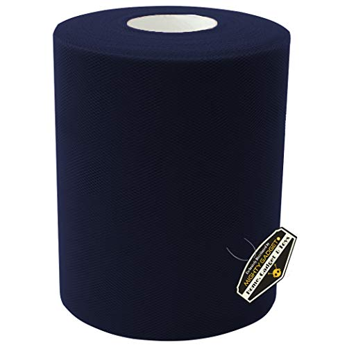 Mighty Gadget Brand Large Tulle Fabric Spool 6 inch x 100 Yards (300 feet) for Wedding and Decoration (Navy Blue) -