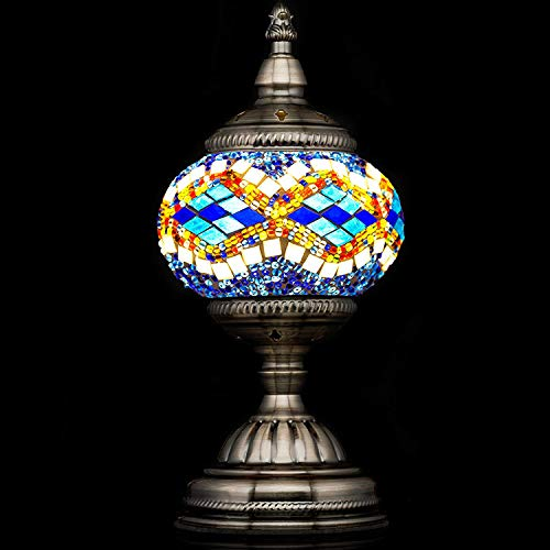 Mosaic Lamp-Handmade Turkish Mosaic Table Lamp with Mosaic Lantern,Bronze Base,Unique Table Lamp for Room Decoration(Blue,White)-A69 (Stained Accent Lamp Glass)