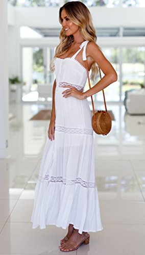 Dress in Vestito Donna pizzo Jelly Bianco Maxi Estate Alta Blooming Beach Lungo Spaccatura Abbottonare nATWgW