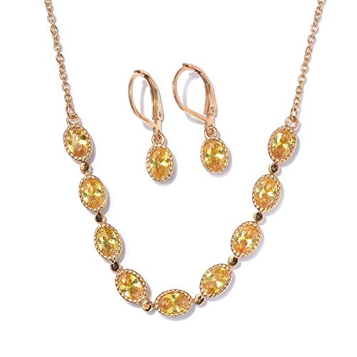 Yellow Cubic Zirconia ION Plated Gold Steel CZ Earrings Necklace with Steel Chain 5.9 Cttw Size 18