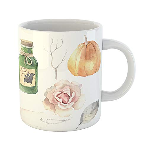 Emvency Coffee Tea Mug Gift 11 Ounces Funny Ceramic Halloween Watercolor Poison Bottle Pumpkin Rose Label Leaf Branch Gifts For Family Friends Coworkers Boss -