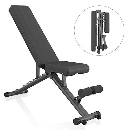 BARWING Adjustable Weight Bench- 800 lbs Folding Full Body Workout Bench with Dragon Flag, 8+4+2 Positions Multi-Purpose Incline/Flat/Decline Bench for Home Gym Strength Training (Black-Black)