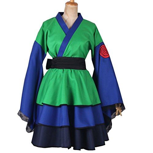 NSOKing New Naruto Akatsuki Halloween Party Girls Kimono Dress Costume Outfit (Large, Green)