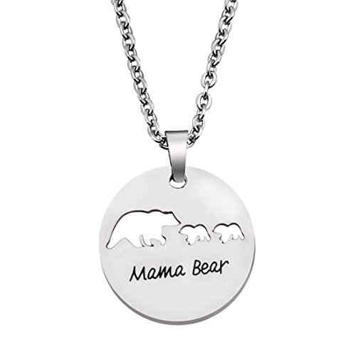 KUIYAI Sweet Family Mama and Baby Bear Round Necklace Gift for Mothers with 2 Children (Round 2 Cubs)