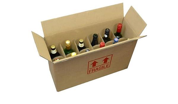 Frágil impreso Cartón Caja para botella de vino, Capacidad para 6 botellas 540 mm x 190 mm x 350 mm Qty 25 cajas: Amazon.es: Hogar