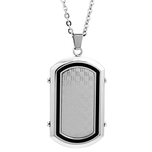 "Lavari - Stainless Steel Dog Tag Texture Black Resin Accent 22"" Chain"