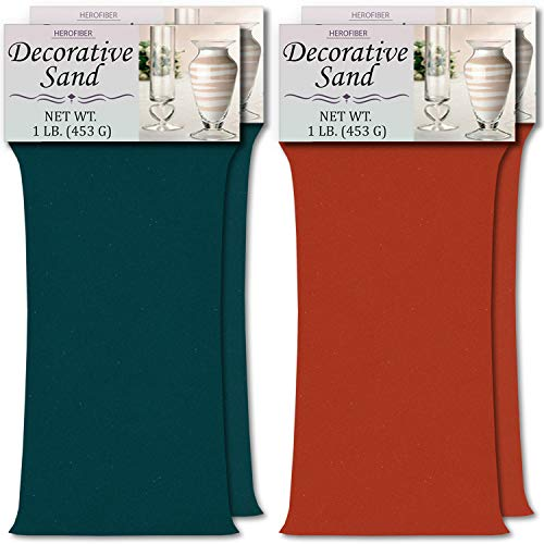 HeroFiber Colored Unity Sand (4 lbs.) - Teal and Coral - 2 lbs. per Color - Decorative Art Sand for Weddings, Vase Filling, Kids' Craft -