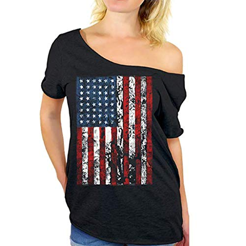 RAINED-Women Plus Size Shirt Independence Day Short Sleeve Tops Summer Casual T-Shirt 4th July Patriotic USA Flag Tee Black