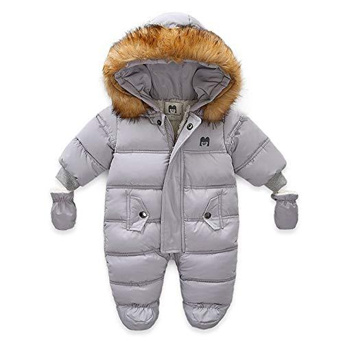 Haokaini Baby Snowsuit met Afneembare Handschoenen Pasgeboren Baby Rits Hooded Romper Winter Warm Down Jumpsuit Uitloper…