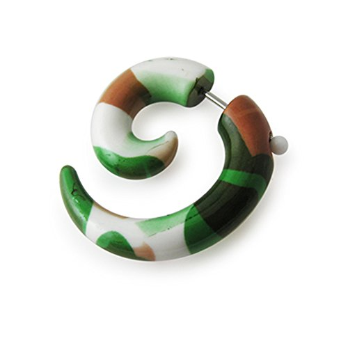 8MM UV Fancy Spiral Fake Ear Plug Body jewelry
