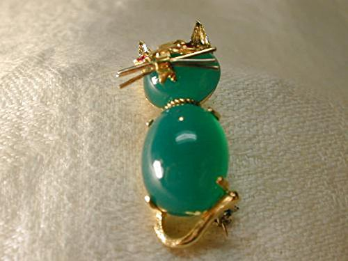 Magnificent Estate 14K Yellow Gold Green Aventurine Ruby Cat Brooch Pin by GEMSforyou