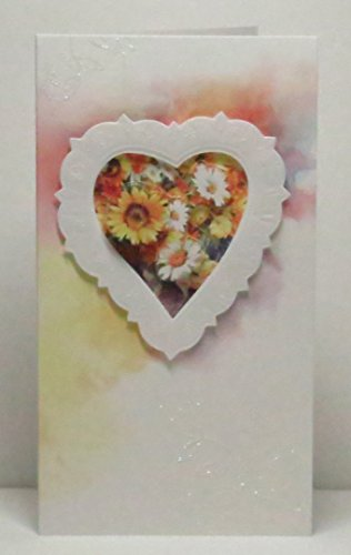 - Handmade 3D Sunflowers in Embossed Heart Frame Watercolour Effect Blank Greeting Card with Floral Glittered Highlights - Limited Edition - 1 in stock