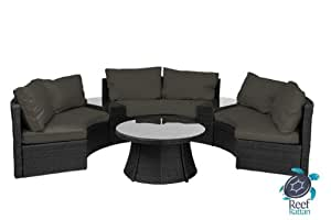 Reef Rattan Half-Moon 6 Pc Curved Bench Sofa Set - Black Rattan / Grey Cushions
