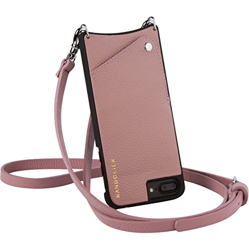 Bandolier [Emma] Crossbody Phone Case and Wallet - Compatible with iPhone 8 Plus, 7 Plus, 6 Plus, 6s Plus - Desert Rose Leather with Silver -